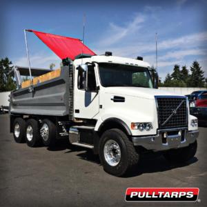 volvo, pulltarps, dump truck, arm system, truck tarping